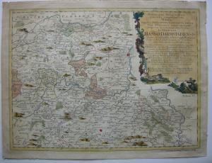 Hessen Darmstadt kolor Orig Kupferstichkarte Pronner bei Homann 1754