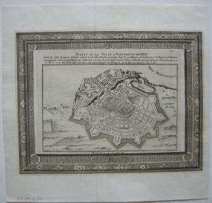 Nice Nizza Cote d'Azur Grundrissplan Proiet Befestigung Orig Kupferstich 1750