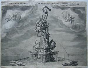 Augsburg Herkulesbrunnen Orig. Kupferstich 1602 Maximilianstraße Adriae de Vries