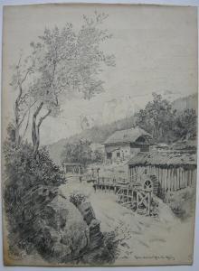 F. Waibel Mühle und Gehöft im Mürztal Steiermark Orig Bleistiftzeichnung um 1880