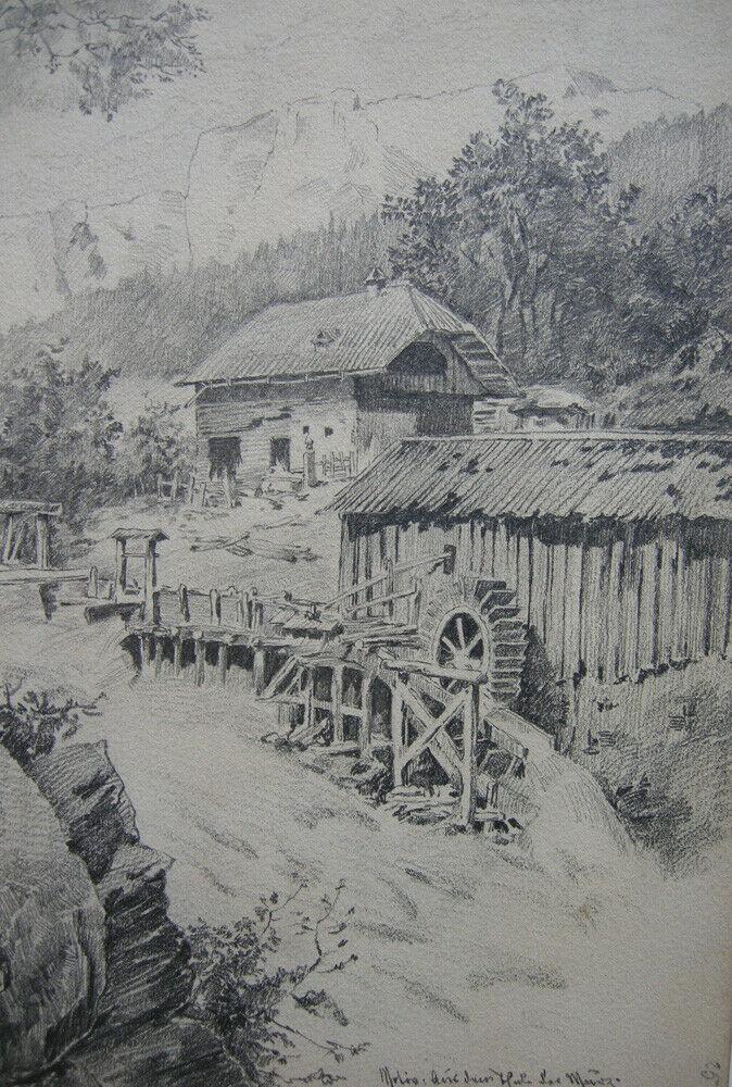 F. Waibel Mühle und Gehöft im Mürztal Steiermark Orig Bleistiftzeichnung um 1880 1