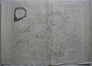 La Suisse Schweiz 13 Kantone kolor Kupferstichkarte Bonne 1778
