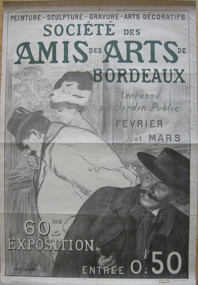Plakat affiche Amis des Arts Bordeaux Jean Lefort Lithografie entoilé 1900 0