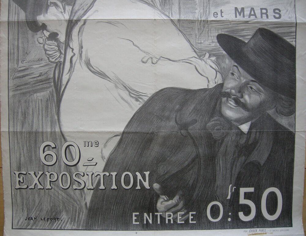 Plakat affiche Amis des Arts Bordeaux Jean Lefort Lithografie entoilé 1900 2