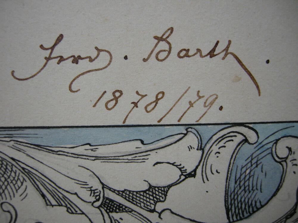Ferdinand Barth (1842-1892) Prosit Neujahr Orig Farbzeichnung 1879 3