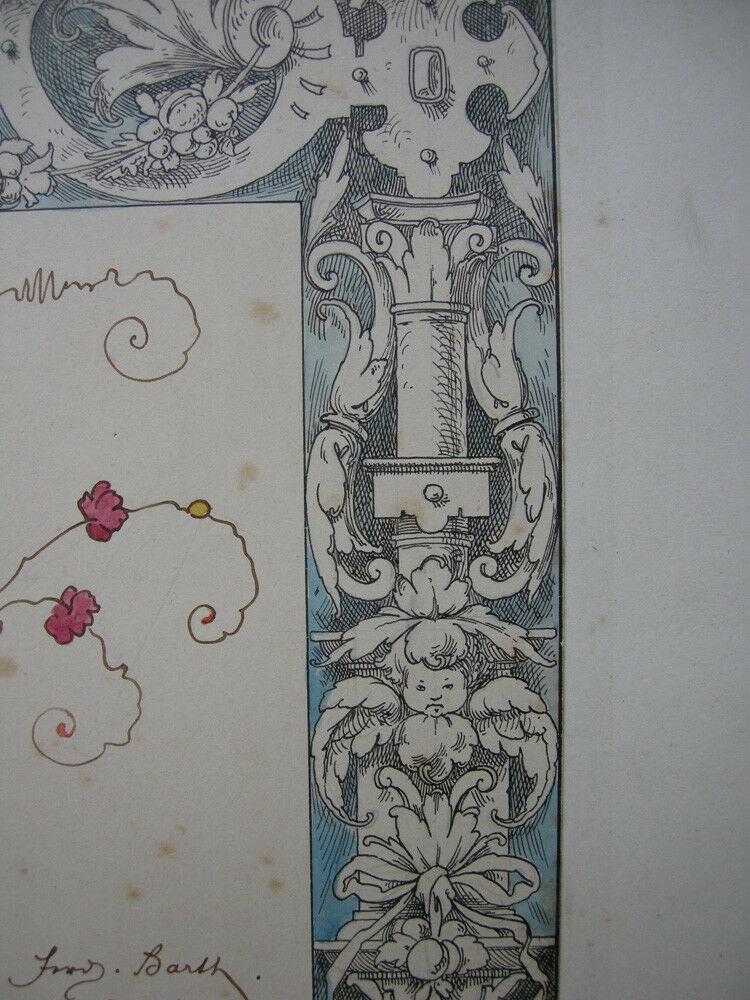 Ferdinand Barth (1842-1892) Prosit Neujahr Orig Farbzeichnung 1879 4