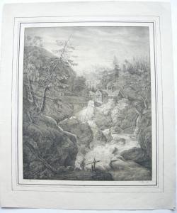 Lohbach b Egern frühe Orig Lithographie Caspar Auer nach Dorner 1819 Wasserfall