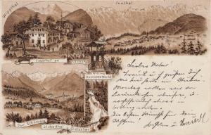 AK Wipptal Inntal Jägerhof Schönberg Stubaital Tirol Österreich Litho gel 1896