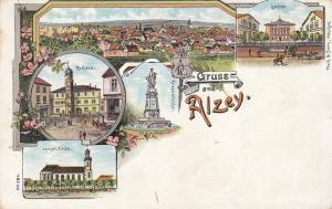 Ak Alzey Alzey-Worms Rathaus Seminar Kirche Rheinland Pfalz Litho ungel 1900