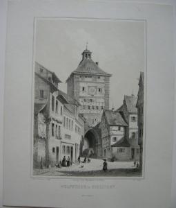 Esslingen Neckar Wolfsthor Orig Lithografie Kappis J. Nagel 1830