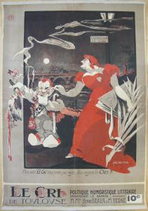 Plakat affiche Le Cri de Toulouse Cabaret politique Lithografie Metteix 1900