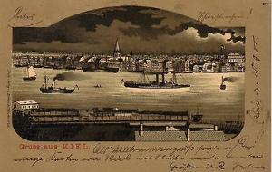 Ak Kiel Ansicht vom Hafen aus Schleswig-Holstein Litho gel 1900 Mondscheinkarte