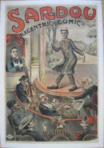 Plakat affiche Sardou excentric comic Varieté L. Galice Lithografie entoilé 1900