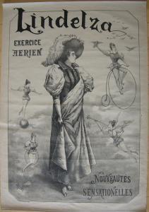 Plakat affiche Lindelza Exercice aerien Lithografie Gentili entoilé 1900 Cirque