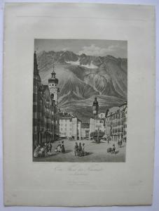 Innsbruck Teil der Neustadt Tirol Österreich Orig. Aquatinta-Radierung 1840