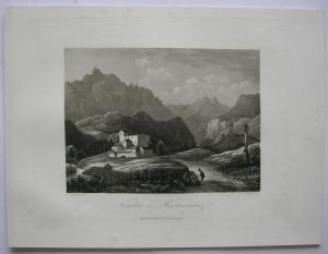 Nauders bei Finstermünz Tirol Österreich Orig. Aquatinta-Radierung 1840
