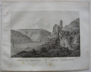 Ruinen von Ehrenfels Rhein Orig Kupferstich J. Roux 1822 Hessen