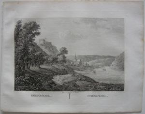 Oberwesel Rhein Hunsrück Orig Kupferstich J. Roux 1822 Rheinland-Pfalz