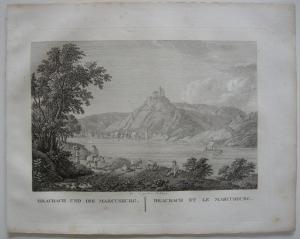 Braubach Marcusburg Rhein Orig Kupferstich J. Roux 1822 Rheinland Pfalz