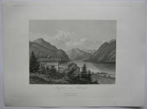 Achensee Karwendel Jenbach Inntal Tirol Österreich Orig Stahlstich 1840