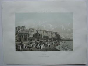 Dieppe vue des Bains coté de la mer kolor Orig. Lithografie Maugendre 1850