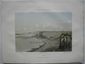 Puy Vue des Bains et du camp de César de kolor Orig. Lithografie Maugendre 1850