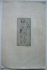 Willi Geiger (1878-1971) Torero Corrida Studie Orig Radierung 1912 signiert