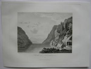 Achentaler See Unterinntal Tirol Österreich Orig Aquatinta-Radierung 1840