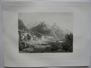 Brennersee Gries am Brenner Tirol Österreich Orig Aquatinta-Radierung 1840
