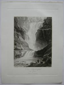 Stuibenfall bei Reutte Tirol Österreich Orig Aquatinta-Radierung 1840