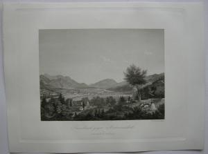Innsbruck gegen Unterinntal Tirol Österreich Orig Stahlstich 1840 J. Riegel