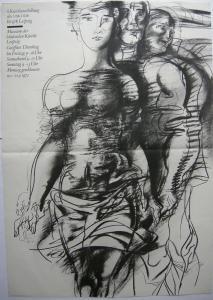 Frank Ruddigkeit 8. Kunstausstellung Bezirk Leipzig Orig Plakat DDR 1972