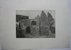 Karsten Hein (1937) Mauerwerk Orig. Radierung signiert 1961 signiert
