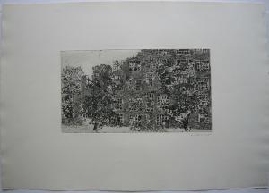 Karsten Hein (1937) Zerbrochene Fenster Orig. Radierung signiert 1960 signiert