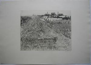 Karsten Hein (1937) Stoppelfeld Orig. Radierung signiert 1960 signiert