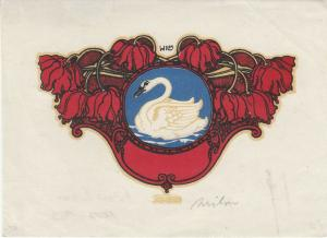 Hubert Wilm (1887-1953) Jugendstil-Vignette Blumen Schwan Lithografie signiert