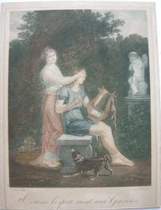 Jean-Baptiste Mallet Comme l'esprit vient aux Garcons Orig. Kupferstich 1820