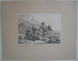 Johann Adam Klein (1792-1875) Tiroler Viehhändler Orig Radierung 1845