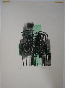 Oskar Koller aquarellierte Lithographie Stühle Probedruck signiert 1962