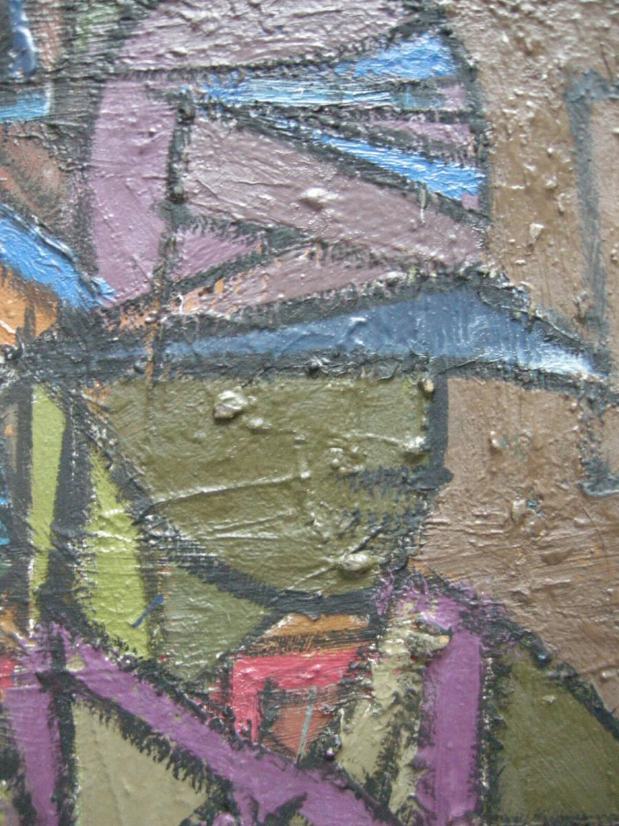Jean Besnard (? - 1980) Dame mit Hut Öl auf Platte um 1960 nicht signiert 1