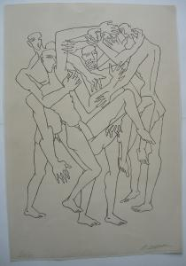 Ossip Zadkine (1890-1967) Combat I Orig. Lithografie 1965 signiert 20/75