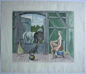 Gyorgy Stefula (1913-1999) Mädchen im Pferdestall Orig. Farblithografie signiert