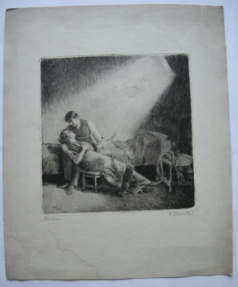 Wilhelm Hörwarter (1883-1963) Märchen Orig. Radierung signiert 1910 0