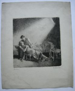 Wilhelm Hörwarter (1883-1963) Märchen Orig. Radierung signiert 1910