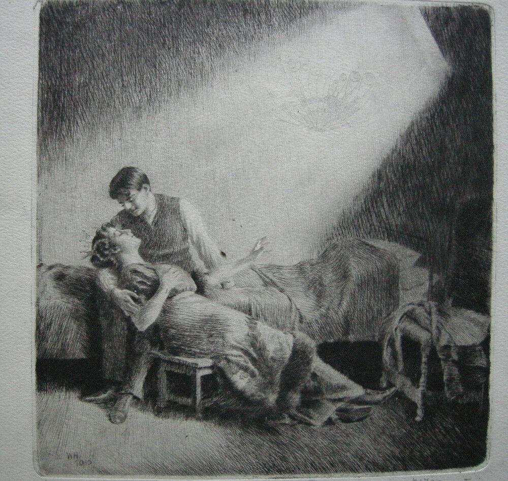 Wilhelm Hörwarter (1883-1963) Märchen Orig. Radierung signiert 1910 1
