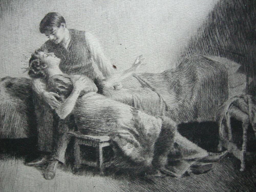 Wilhelm Hörwarter (1883-1963) Märchen Orig. Radierung signiert 1910 2