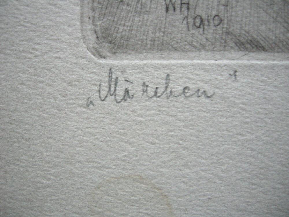 Wilhelm Hörwarter (1883-1963) Märchen Orig. Radierung signiert 1910 4