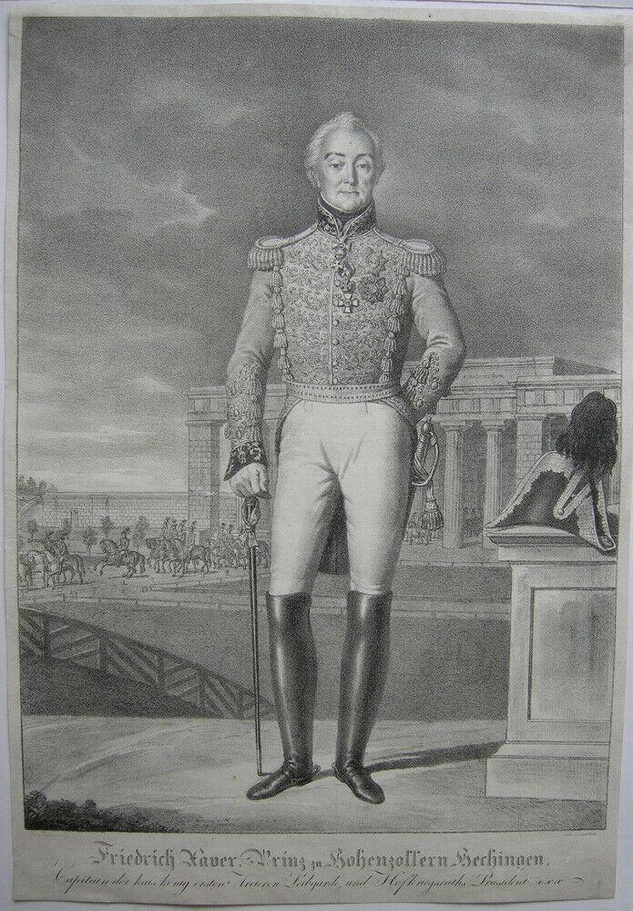 Friedrich Xaver zu Hohenzollern Hechingen Orig. Lithografie Lanzedelly 1830 0