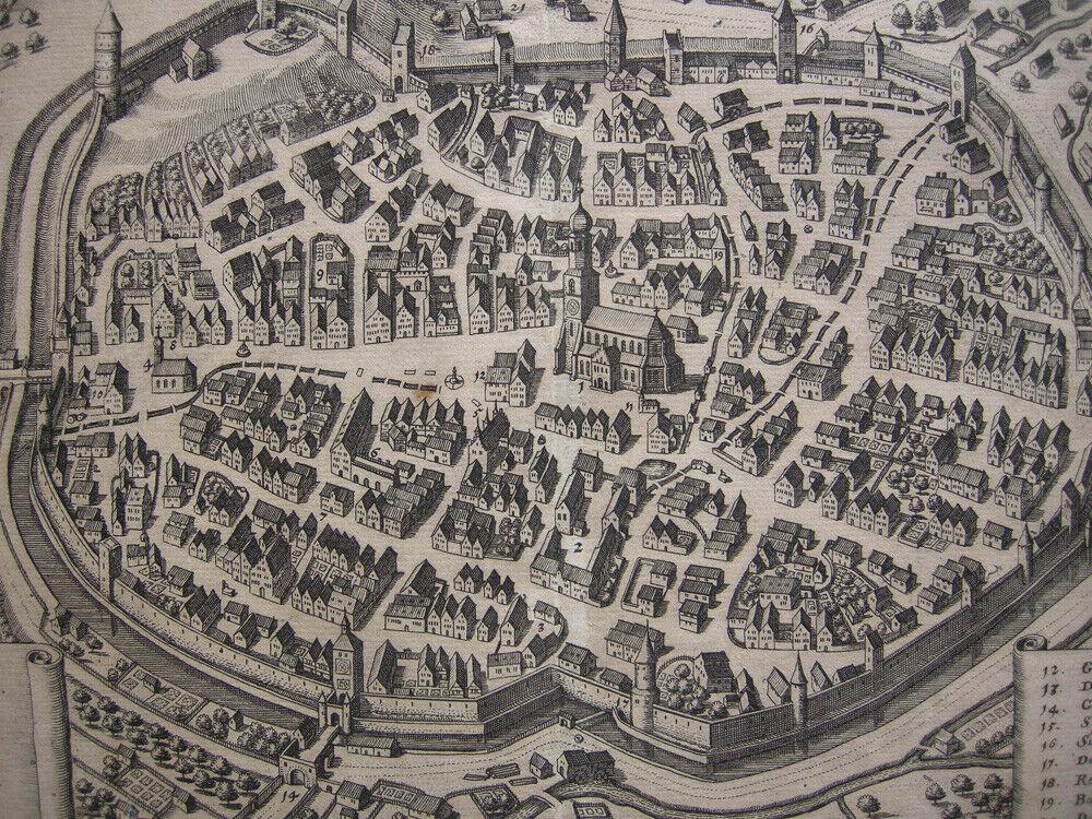 Biberach Gesamtansicht Vogelschau Orig Kupferstich M. Merian 1650 Baden Württemb 1