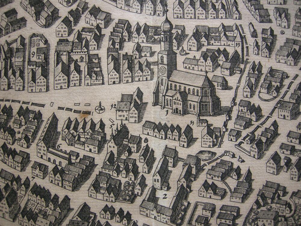 Biberach Gesamtansicht Vogelschau Orig Kupferstich M. Merian 1650 Baden Württemb 2